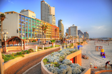 Colorful HDR image of Tel Aviv beach with some of its famous hotels (Mediterranean sea. Israel) Fototapete