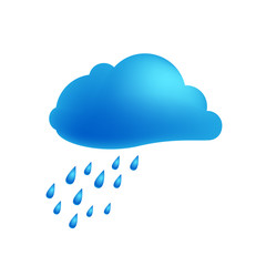 Weather icon of rain cloud Vector Illustration. Cloud with falling rain