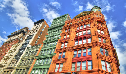 HDR image of colorful buildings (apartments)  in New York City on a partially cloudy day
