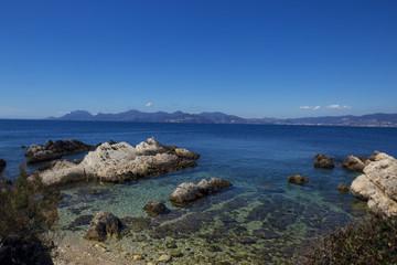 Sea coast with azure water