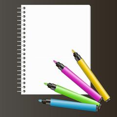 Рисование, маркеры, фломастеры и альбом для рисования, блокнот