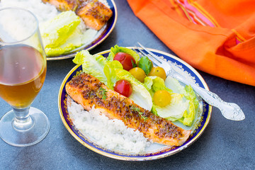 Glazed salmon with apricot jam and mustard