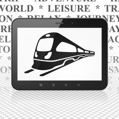 Travel concept: Tablet Computer with Train on display