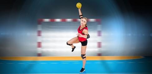 Female athlete throwing handball