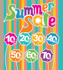 Summer sale colorful illustration. Discounts from 10% to 70%.