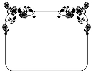 Horizontal black and white frame with roses silhouettes. Vector clip art.