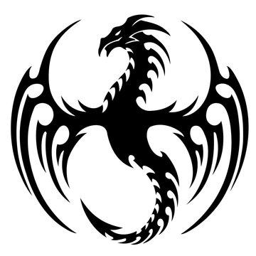 vector illustration, tribal dragon tattoo design, black and white graphics.