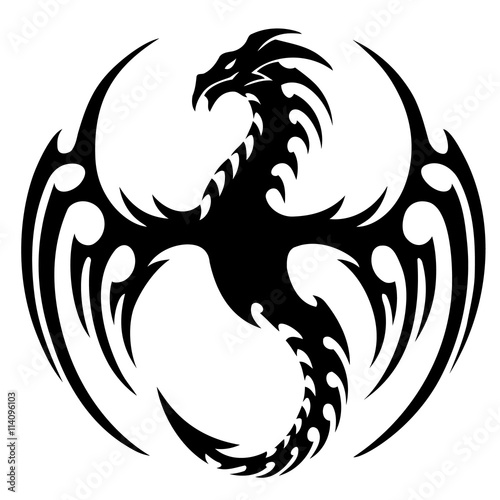 Quot Vector Illustration Tribal Dragon Tattoo Design Black