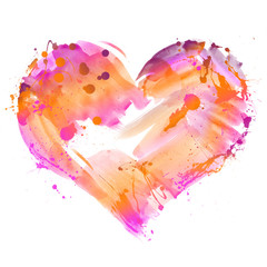 Aquarell Herz Illustration Projekt Liebe Frieden Kunst Malerei Mode in rosa orange