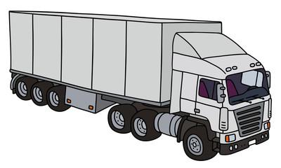 Semi trailer truck / Hand drawing, vector illustration