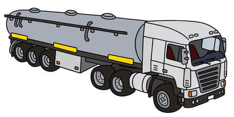 Semi tank trailer / Hand drawing, vector illustration