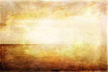 Grungy vintage image of light, sea and sky