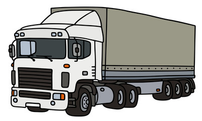 Semi trailer truck / Hand drawing, vector illustration