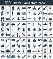 travel, adventure 100 icons set