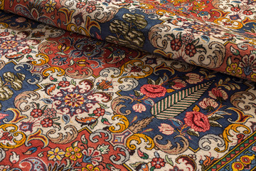 Close up of a fine persian Bakhtiari oriental carpet with floral