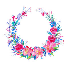 Wreath of flowers.Garland with lily and wild herbs.Watercolor hand drawn illustration.White background.