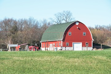 Red Barn and Tractor