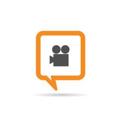 square orange speech bubble with camera illustration