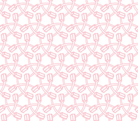 Tooth brush illustration pink color seamless pattern isolated on white background