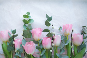 delicate bouquet of tulips. Beautiful pink flowers and composition of the plant pleasing to the eye .