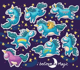 Sticker set of cute cartoon unicorn with rainbow and stars
