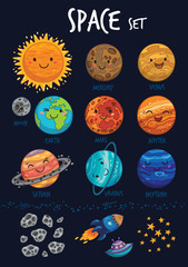 Space set. Collection of cute cartoon planet