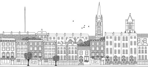 Dublin - seamless banner of Dublin's skyline, hand drawn black and white illustration