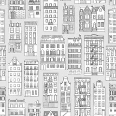Seamless pattern with little hand drawn houses