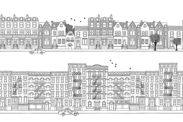 Two hand drawn seamless city banners - London and New York style houses