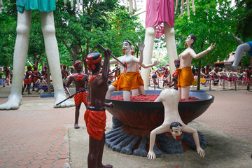 hell statue at thailand temple (Buddhists believe that Evildoer after his death go to hell)