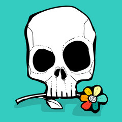 the skull and colorfully flower