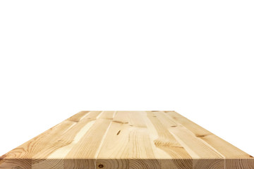 Wood table top isolated on white background