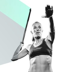Composite image of athlete preparing to throw javelin