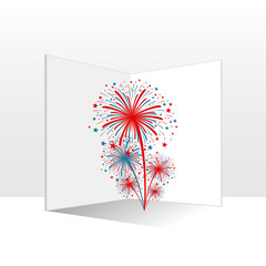card with american colors fireworks