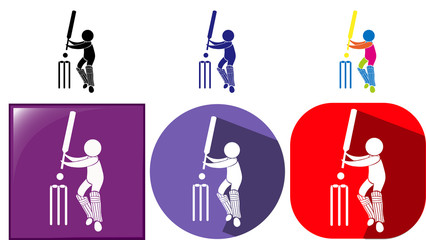 Three design sport icons for cricket