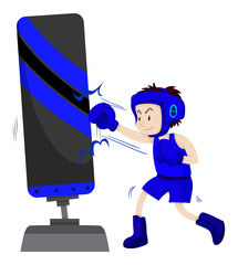 Boxer in blue outfit punching on punching stand