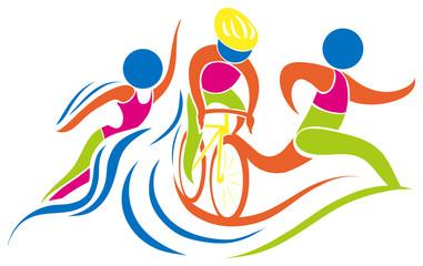 Triathlon icon in colors