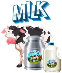 Fresh milk tank and cow