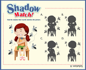 Shadow matching game template with girls and mosquitos