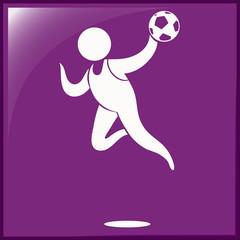 Handball icon on purple background