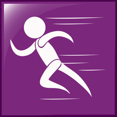 Running icon on purple background