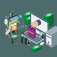 business technology internet for on line shop e-commerce isometric concept