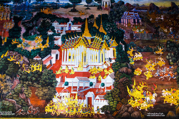 Bangkok, Thailand - Circa December, 2014: Ramayana painting from