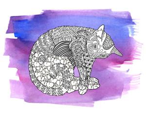 High detail illustration of sleeping cat.
