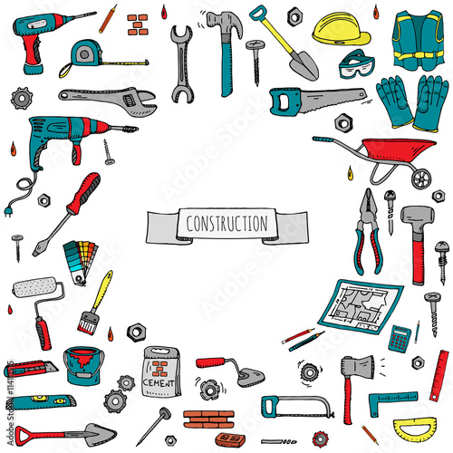 Hand drawn doodle construction tools set vector for Tools to build a house
