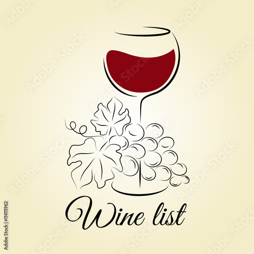 wine glass with grape wine list template hand drawn
