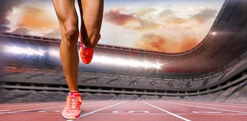 Composite image of close up of sportswoman legs