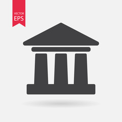 Historical building icon. Museum sign isolated on white background. Flat design. Vector illustration.