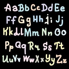colorfull alphabet design on black Background. Vector illustration, eps 10
