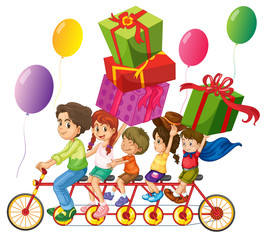 Family riding on bike with present boxes